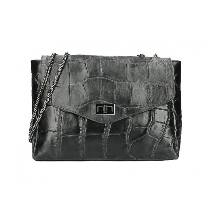 Kožená kabelka na rameno MI15 čierna Made in Italy