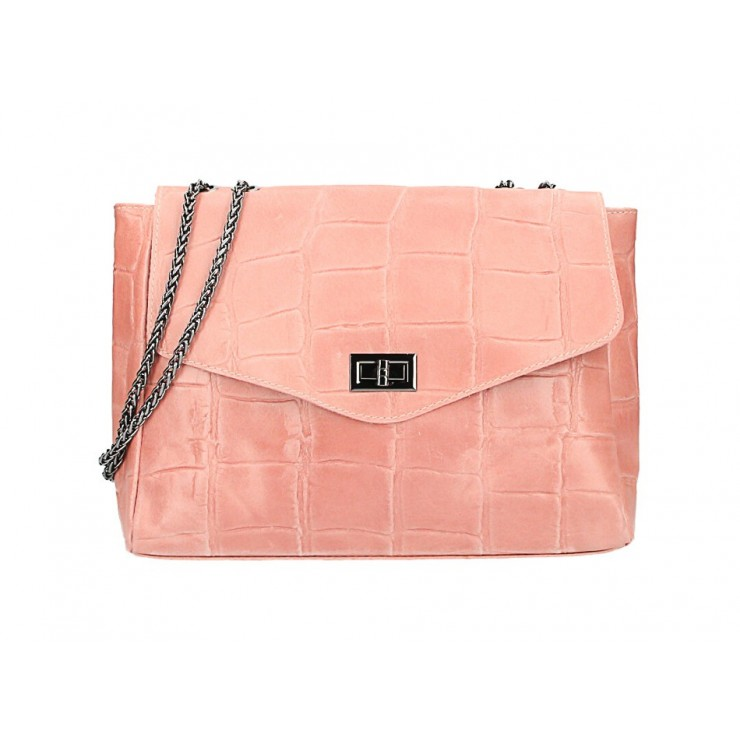 Kožená kabelka na rameno MI15 ružová Made in Italy