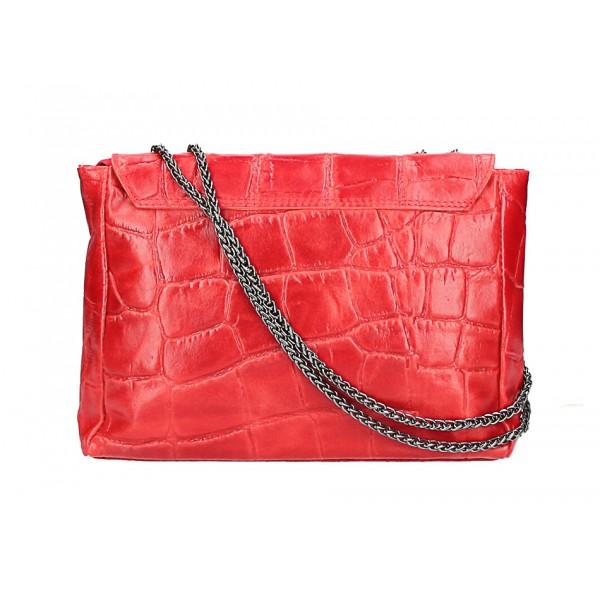 Kožená kabelka na rameno MI15 ružová Made in Italy Ružová