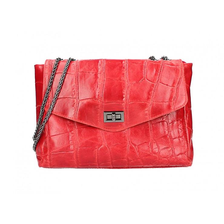 Kožená kabelka na rameno MI15 rudá Made in Italy