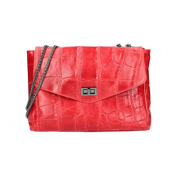 Kožená kabelka na rameno MI15 červená Made in Italy Červená
