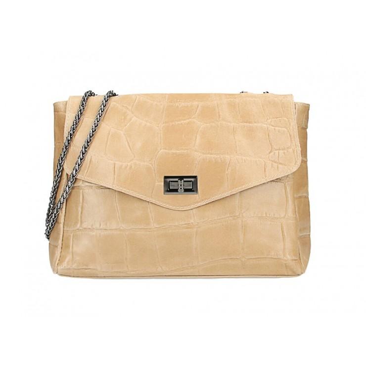 Kožená kabelka na rameno MI15 šedohnedá Made in Italy