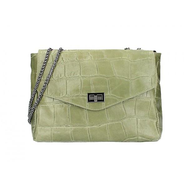 Kožená kabelka na rameno MI15 vojensky zelená Made in Italy Zelená