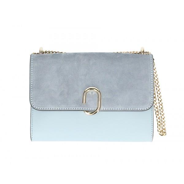 Kožená kabelka na rameno MI48 nebesky modrá Made in Italy Nebesky modrá