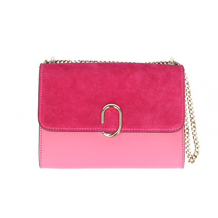 Genuine Leather Handbag MI48 fuxia Made in Italy