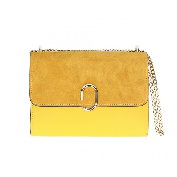 Kožená kabelka na rameno MI48 žltá Made in Italy Žltá