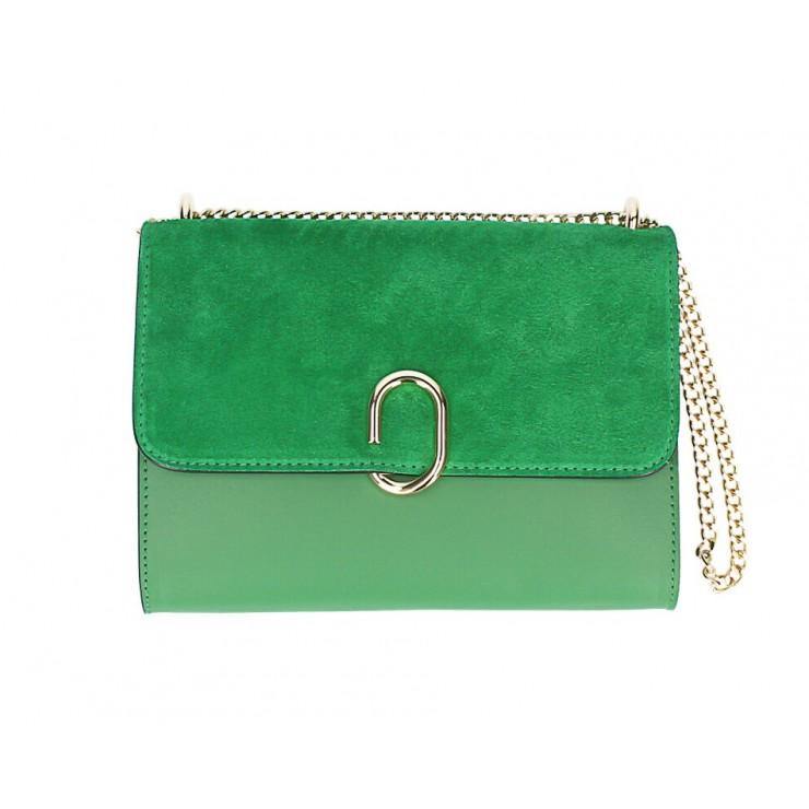 Kožená kabelka na rameno MI48 zelená Made in Italy