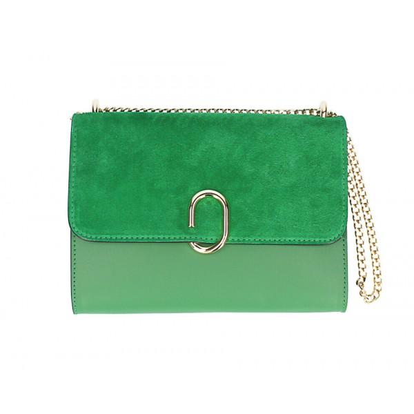 Kožená kabelka na rameno MI48 zelená Made in Italy Zelená