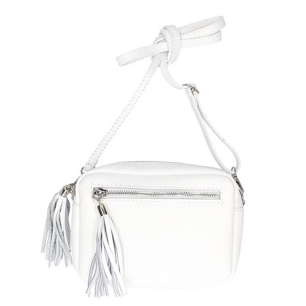 Dámska kožená kabelka na rameno 760 biela
