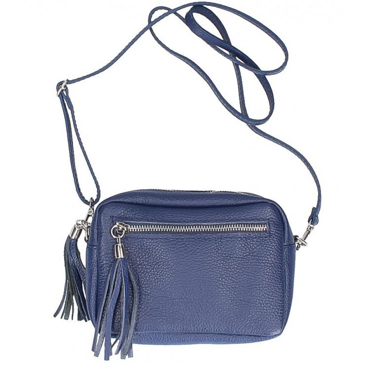 Dámska kožená kabelka na rameno 760 modrá