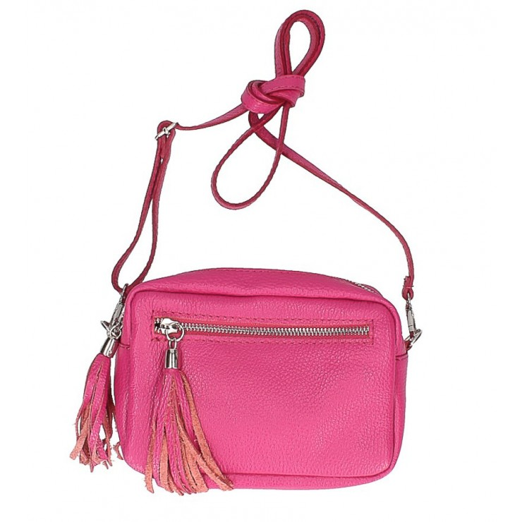Genuine Leather Shoulder Bag 760 fuxia