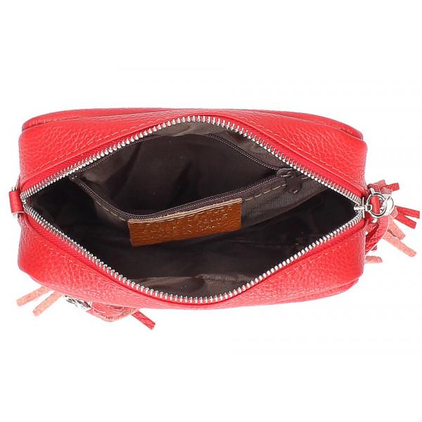 Dámska kožená kabelka na rameno 760 fuchsia