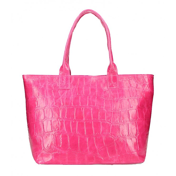 Woman Leather Handbag MI79 fuxia Made in Italy