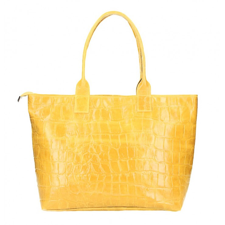 Kožená kabelka MI79 žltá Made in Italy