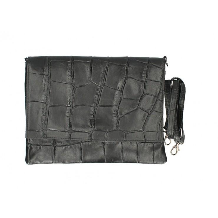 Kožená kabelka na rameno MI60 čierna Made in Italy