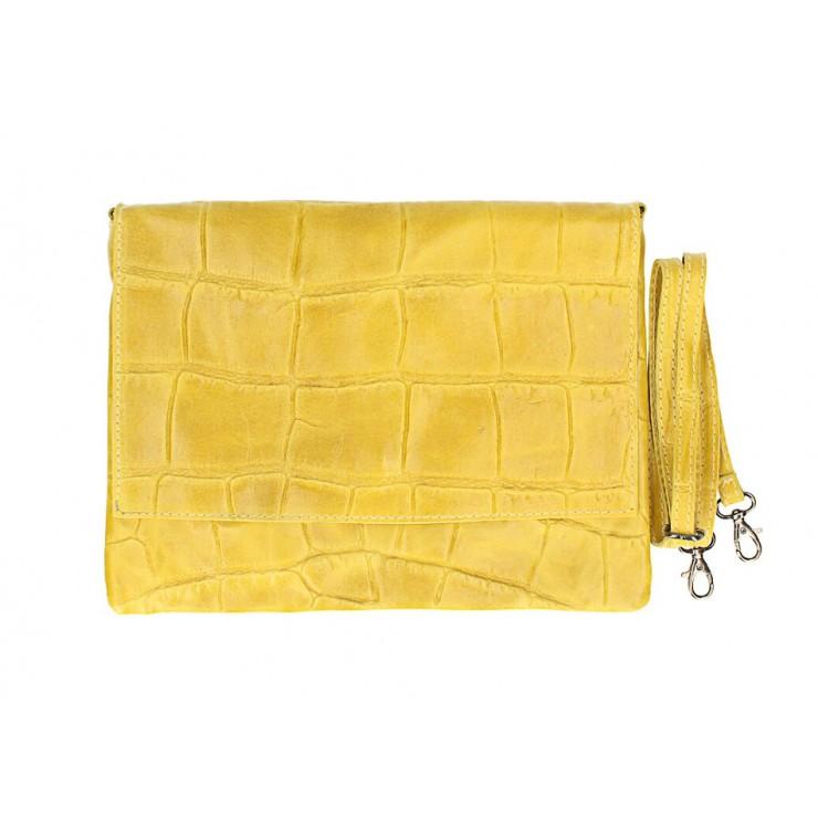 Kožená kabelka na rameno MI60 žltá Made in Italy