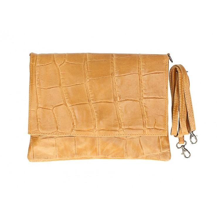 Kožená kabelka na rameno MI60 koňaková Made in Italy