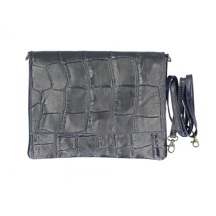 Genuine Leather shoulder bag MI60 dark blue Made in Italy