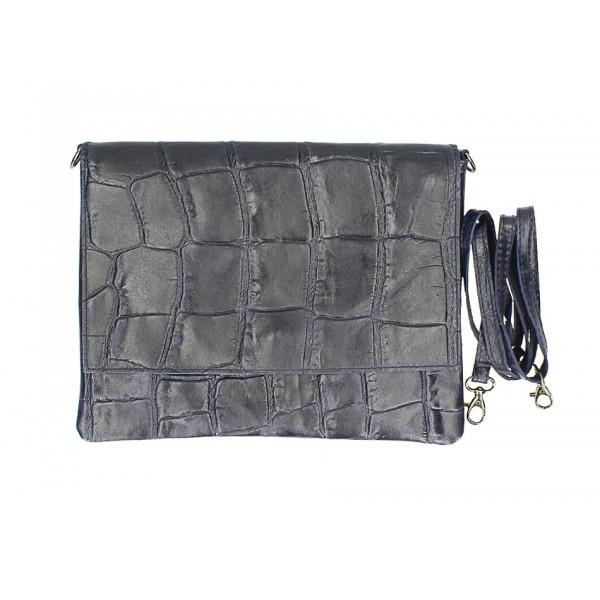 Kožená kabelka na rameno MI60 tmavomodrá Made in Italy Modrá