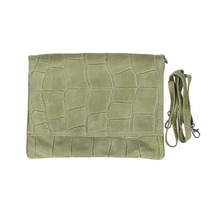 Kožená kabelka na rameno MI60 vojenska zelená Made in Italy