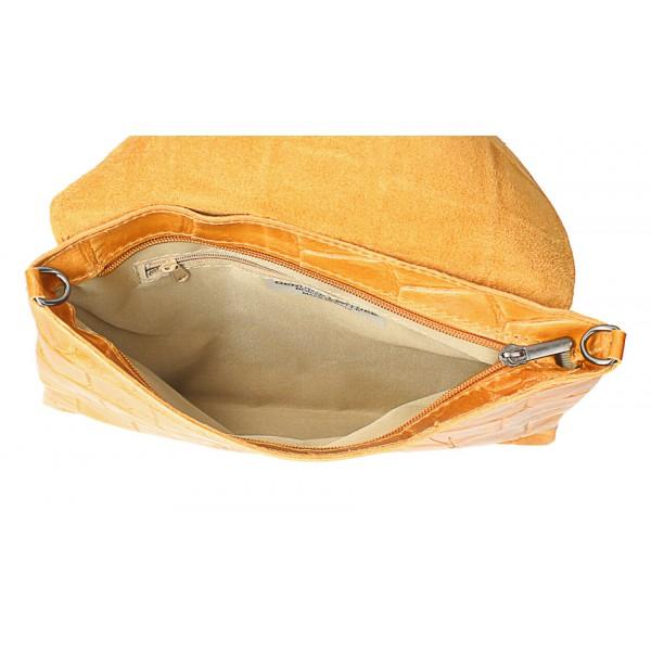 Kožená kabelka na rameno MI60 šedohnedá Made in Italy Šedohnedá