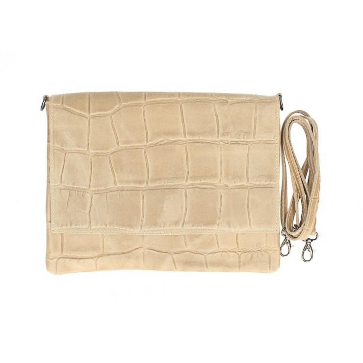 Kožená kabelka na rameno MI60 šedohnedá Made in Italy