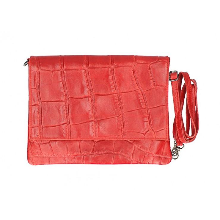 Kožená kabelka na rameno MI60 červená Made in Italy