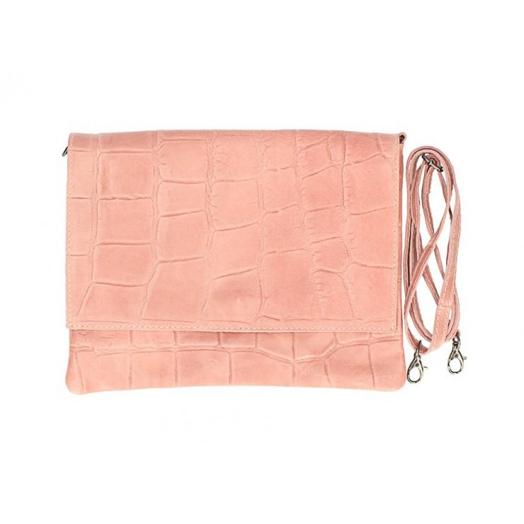 Kožená kabelka na rameno MI60 ružová Made in Italy