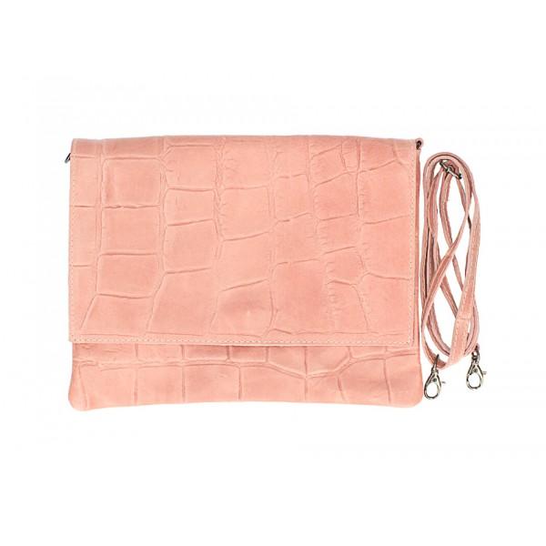 Kožená kabelka na rameno MI60 ružová Made in Italy Ružová