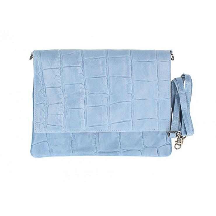 Kožená kabelka na rameno MI60 nebesky modrá Made in Italy