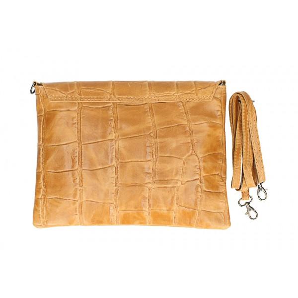 Kožená kabelka na rameno MI60 béžová Made in Italy Béžová