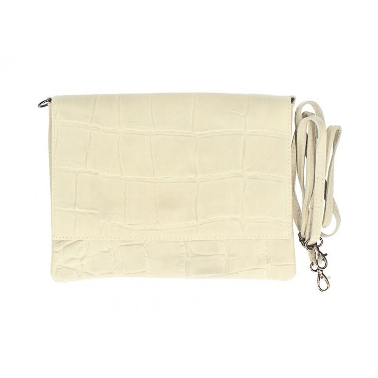 Kožená kabelka na rameno MI60 béžová Made in Italy