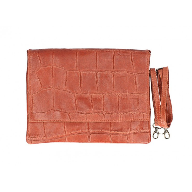 Genuine Leather shoulder bag MI60 papaya Made in Italy
