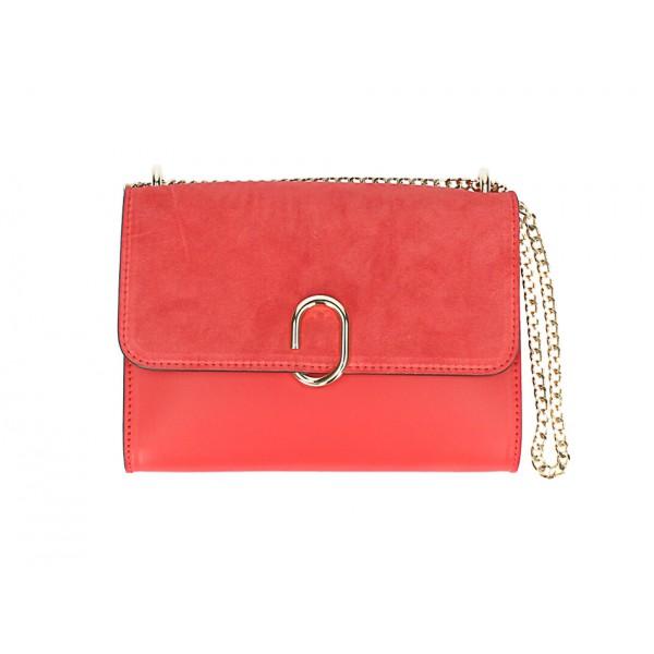 Kožená kabelka na rameno MI48 červená Made in Italy Červená