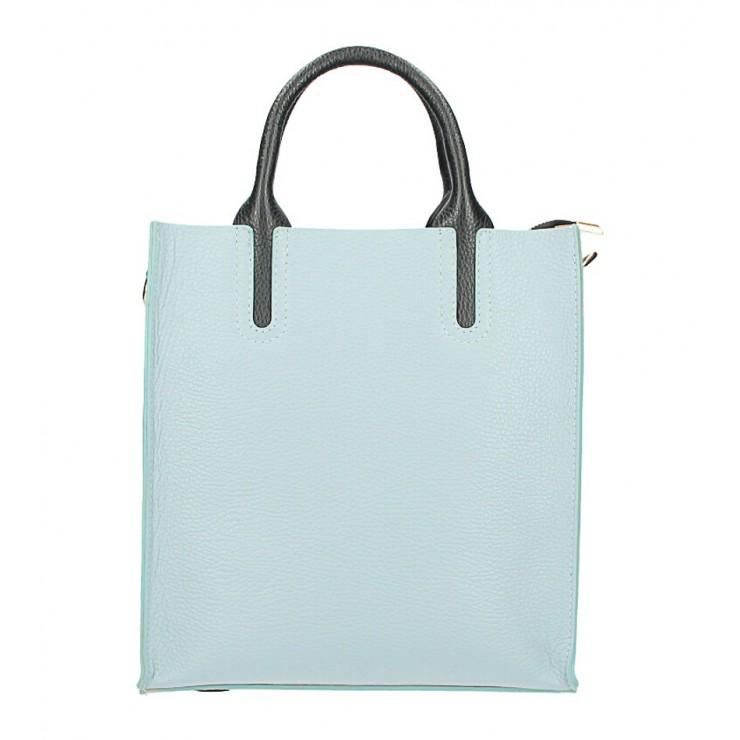 Kožená kabelka MI60 nebesky modrá Made in Italy