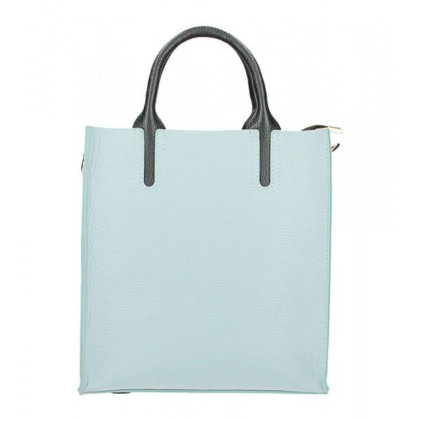 Kožená kabelka MI60 nebesky modrá Made in Italy Nebesky modrá