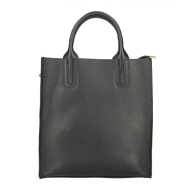 Kožená kabelka MI60 čierna Made in Italy