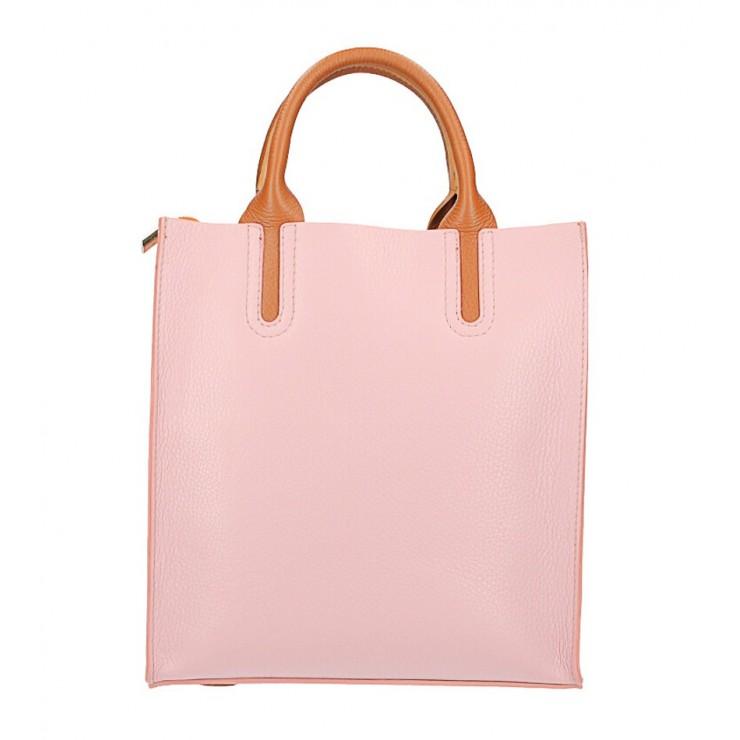 Kožená kabelka MI60 ružová Made in Italy