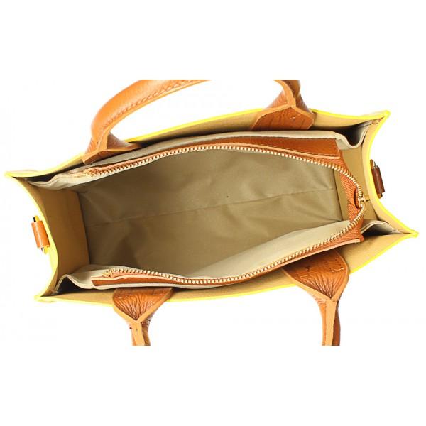 Kožená kabelka MI60 šedohnedá Made in Italy Šedohnedá