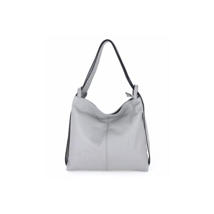Kožená kabelka na rameno 579 šedá Made in Italy