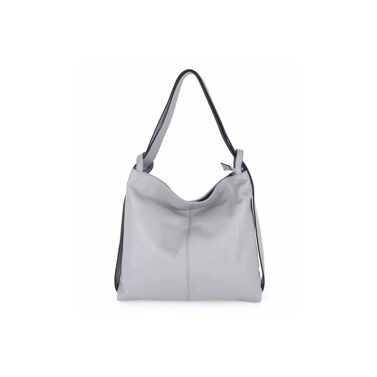 Leather shoulder bag MI357 gray Made in Italy