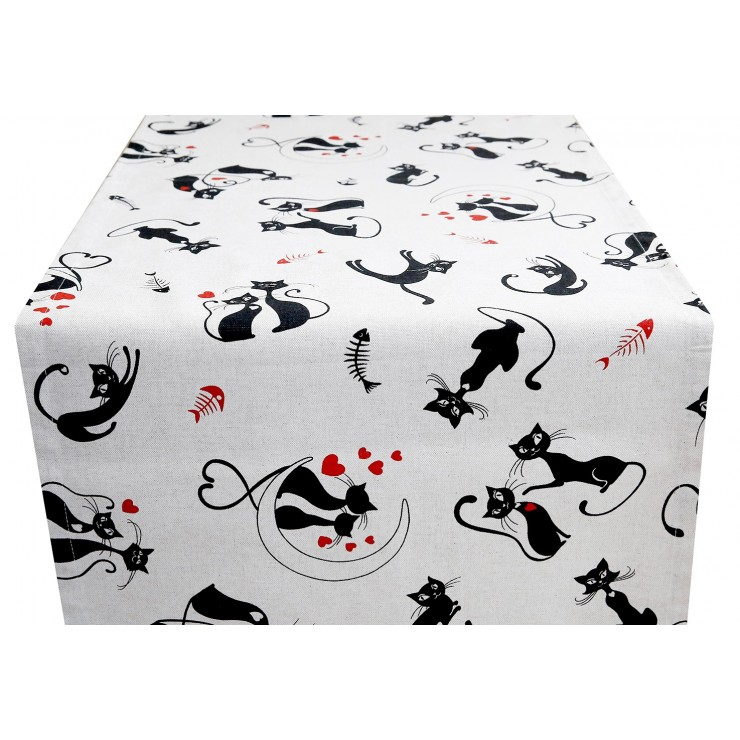 Běhoun na stůl černé Kočky Made in Italy