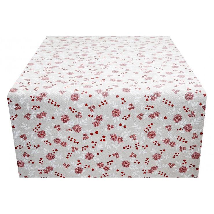 Běhoun na stůl rudé květy Made in Italy