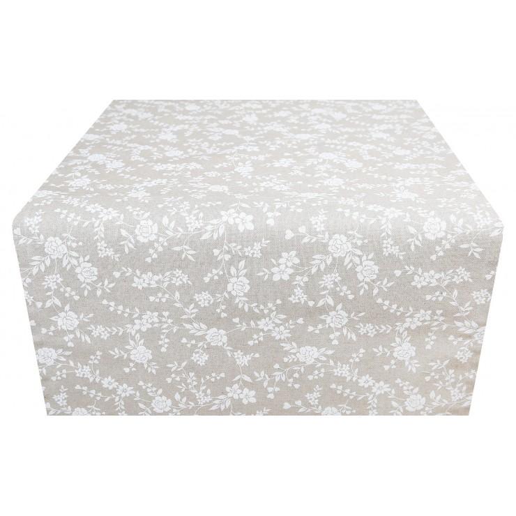 Behúň na stôl biele kvety Made in Italy