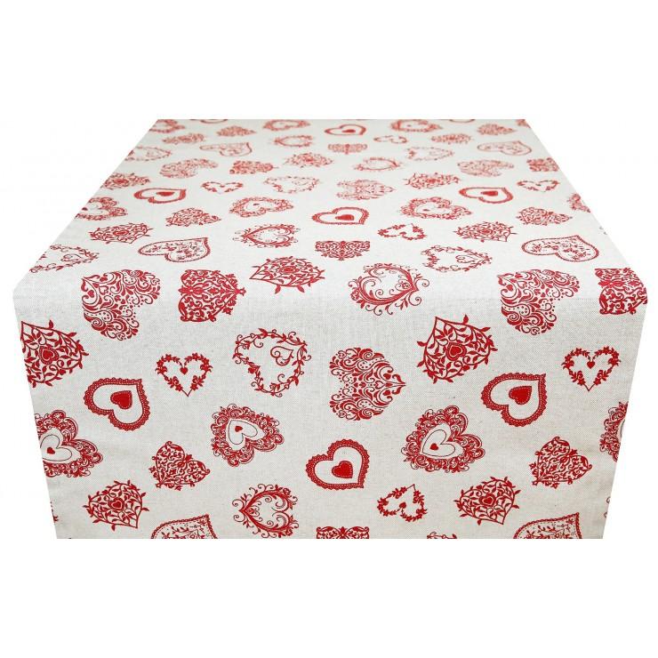 Behúň na stôl červené srdiečka Made in Italy