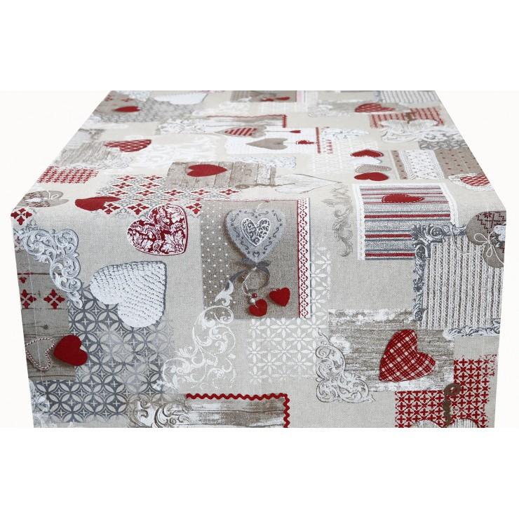 Behúň na stôl patchwork červené srdiečka Made in Italy