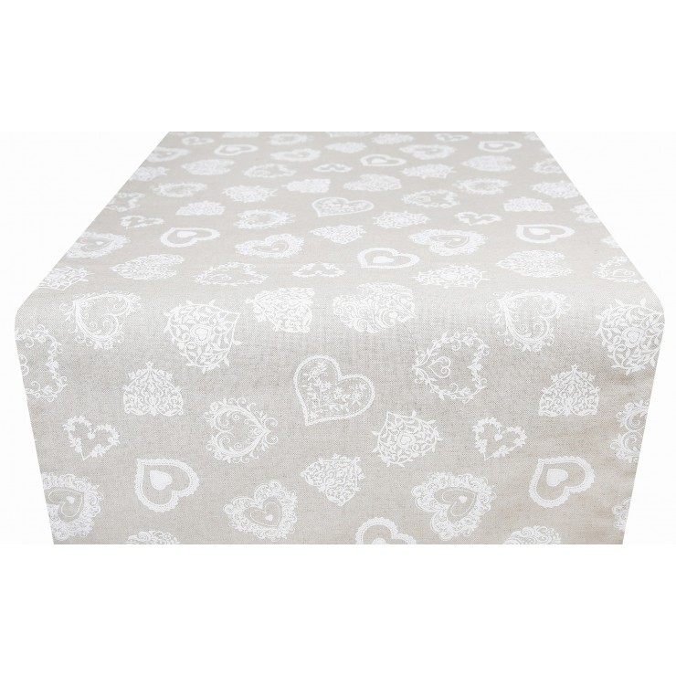 Behúň na stôl biele srdiečka Made in Italy