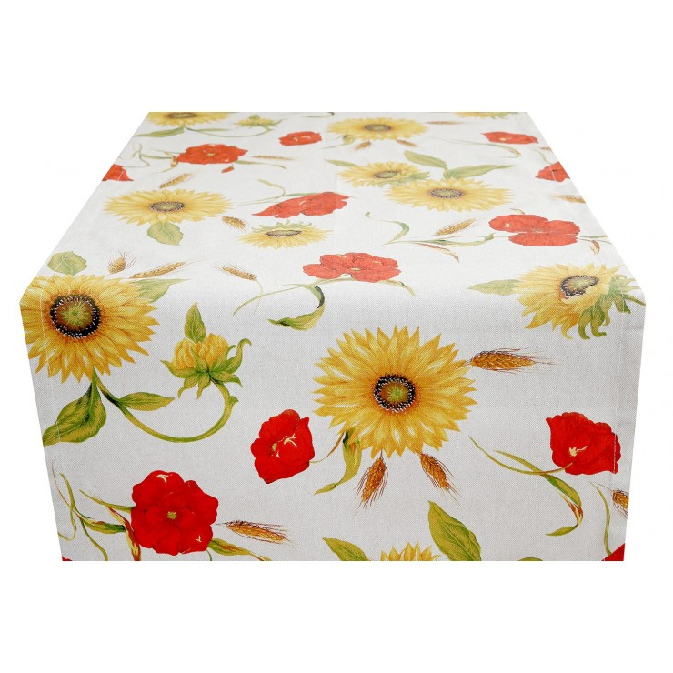 Runner Wild poppies and sunflowers Made in Italy