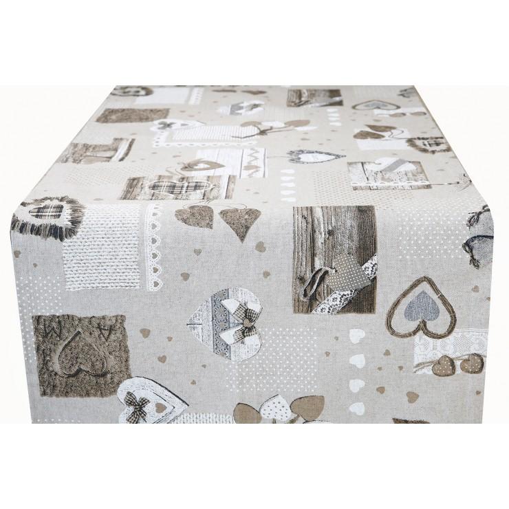 Behúň na stôl šedohnedé srdiečka Made in Italy