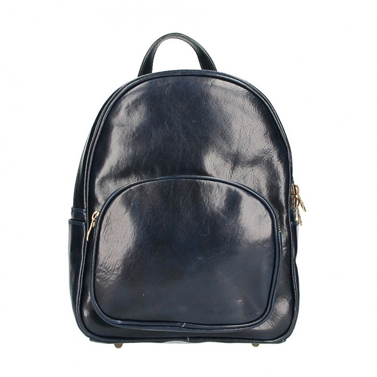 Leather backpack 5341 blue Made in Italy